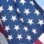 Close up of the stars on the United States flag