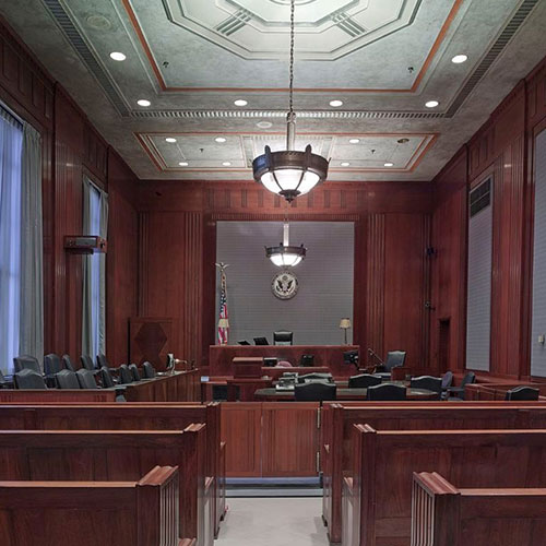 empty courtroom from audience viewpoint